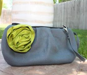 Pleated Zippered Clutch: Choose your own flower color